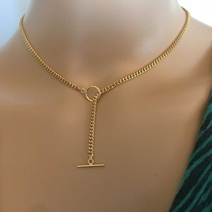 Jewelry - 24KGF gold toggle necklace